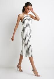 forever 21 white jumpsuit strappy back striped jumpsuit shopperboard