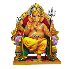 ganesha on throne hindu god full color statue for luck remover of