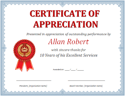 template for certificate of appreciation in microsoft word ms word