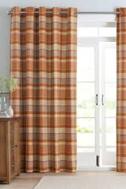 Orange And Brown Curtains Rustic Woven Check Eyelet Curtains Beacon Falls Home