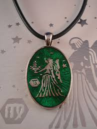 pendant engraving virgo symbol zodiac sign necklace reversible metal pendant w