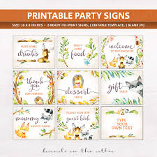 woodland animals baby shower signs printable stationery