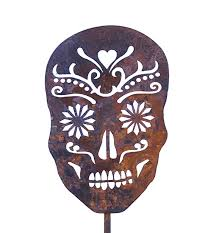 Day Of The Dead Home Decor Sugar Skull Metal Garden Art Stake Day Of The Dead Home And