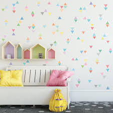 new wall decal designs wall dressed up 96 mini rainbow pastel triangle wall decals eco friendly repositionable fabric wall stickers