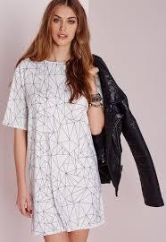 missguided short sleeve line print t shirt dress white black in