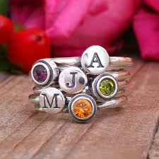 grandmothers rings stacking birthstone initial ring set of 6 rings in sterling