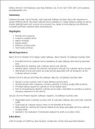 Examples Of Customer Service Resume by Professional Safeway Courtesy Clerk Templates To Showcase Your