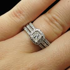 wedding ring with two bands 98ctw princess cut diamond halo engagement ring two wedding band