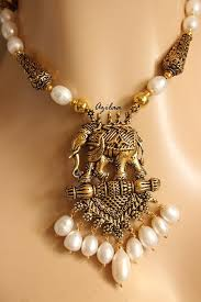 pearl necklace earring images Antique gold tone elephant pendant pearl necklace earrings set jpg
