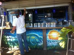 wall murals drew brophy surf lifestyle art joes bar and grill raccoon cove bar mural by drew brophy myrtle beach sc