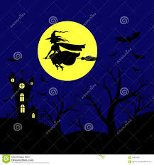 halloween flying witch background halloween landscape with witch flying in sky stock vector image