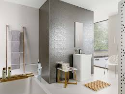 Feature Tiles Bathroom Ideas Venis Bluebell Silver Textured Metallic Wallpaper Look Feature