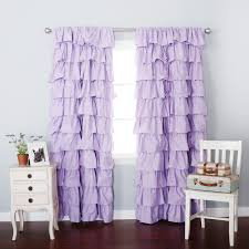 White Ruffled Curtains by Interior Beautiful Lavender Blackout Curtains For Window Decor
