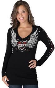 womens affliction sinful t shirt winged guns in black burnout v