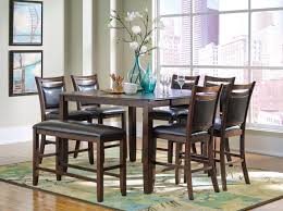 counter height dining set with bench coaster 8 piece dark brown