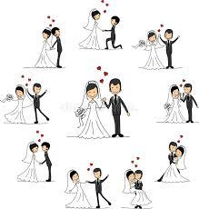 dessin mariage personnages de dessin animé de mariage vecteur photos libres de