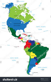 The Americas Map The Americas North And South America Political Map Stock Vector At