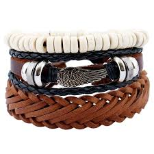 leather bracelet wristband images 4pcs set handmade rope leather bracelet man beads charm wrap jpg