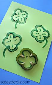 bell pepper shamrock stamp craft for st patrick u0027s day crafty