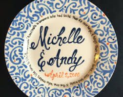 monogrammed plate personalized wedding plate painted ceramic wedding