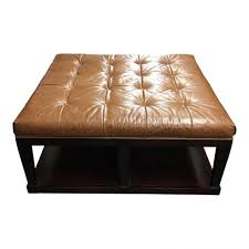 Cushioned Ottoman Coffe Table Blue Leather Ottoman Coffee Table Brown Storage