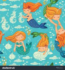 underwater cartoon world vector seamless pattern stock vector