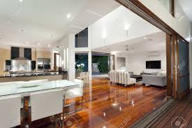luxurious home interior with large sliding doors stock photo