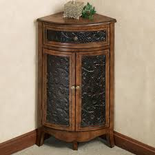 Single Drawer Cabinet Short Wood And Metal Corner Liquor Cabinet With Two Doors Plus