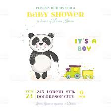 baby shower card baby panda with train toy stock vector art