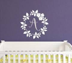 Monogram Wall Decals For Nursery Coral Mint Wall Decal Monogram And Name With Floral Wreath
