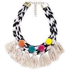 handmade statement necklace images Pom pom handmade statement necklace sparklights co jpg