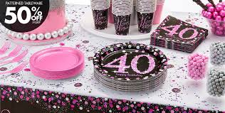 40th birthday decorations pink sparkling celebration 40th birthday party supplies party city