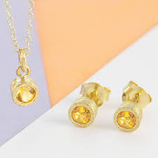 november birthstone topaz or citrine citrine november birthstone gold jewellery gift set by embers