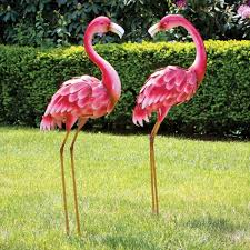 metal flamingo garden statues decor lawn yard garden sculpture