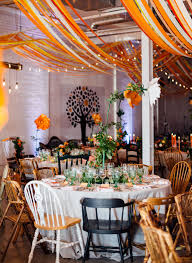 Ceiling String Lights by Bright Orange Paint Splatter Forest Inspired Wedding Chairs