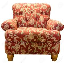country style club chair in a red paisley fabric pattern stock