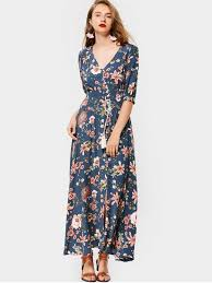 maxi dress front slit floral button up maxi dress blue maxi dresses xl zaful
