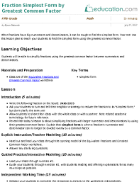 fraction simplest form by greatest common factor lesson plan