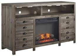 Electric Fireplace Insert Rustic Gray Brown Pine Tv Stand With Electric Fireplace Insert By