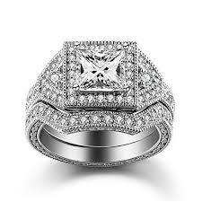 princess cut cubic zirconia wedding sets 24 best engagement rings images on sterling silver