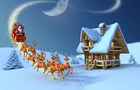 merry christmas santa claus on reindeer sleigh ride