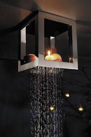 interior ceiling mount rainfall shower head vintage refrigerator