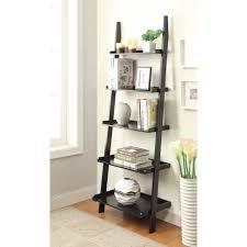 Natural Oak Leaning Shelves With Furniture Small Wooden Ladder Shelf 5 Tier Bookshelf Ladder