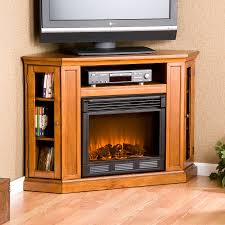 Electric Media Fireplace Furniture Black Stained Wooden Corner Tv Stand Completed With