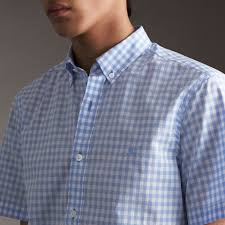 short sleeve button down collar cotton gingham shirt in pale blue
