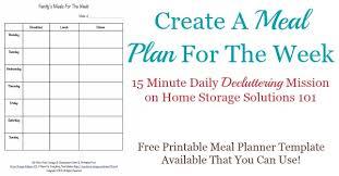 printable meal planner free printable weekly meal planner template