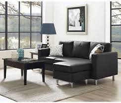3 Seat Sectional Sofa Black Leather Sectional Sofa 3 Seater L Shaped Modern Living Room
