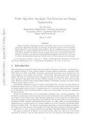 firefly algorithm stochastic test functions and design