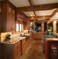 kitchen designs and more mullet cabinet rustic kitchen retreat showcasing knotty alder