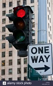 one way light old traffic light with red on and one way sign seattle washington